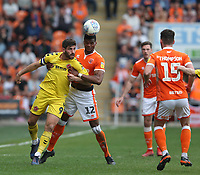 Blackpool's Michael Nottingham battles with Fleetwood Town's Ched Evans<br /> <br /> Photographer Stephen White/CameraSport<br /> <br /> The EFL Sky Bet League One - Blackpool v Fleetwood Town - Monday 22nd April 2019 - Bloomfield Road - Blackpool<br /> <br /> World Copyright © 2019 CameraSport. All rights reserved. 43 Linden Ave. Countesthorpe. Leicester. England. LE8 5PG - Tel: +44 (0) 116 277 4147 - admin@camerasport.com - www.camerasport.com<br /> <br /> Photographer Stephen White/CameraSport<br /> <br /> The EFL Sky Bet Championship - Preston North End v Ipswich Town - Friday 19th April 2019 - Deepdale Stadium - Preston<br /> <br /> World Copyright © 2019 CameraSport. All rights reserved. 43 Linden Ave. Countesthorpe. Leicester. England. LE8 5PG - Tel: +44 (0) 116 277 4147 - admin@camerasport.com - www.camerasport.com