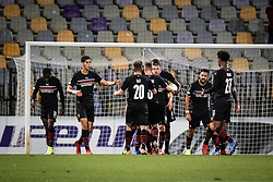 Players of Rennes celebrating their goal during football match between NS Mura and Rennes (FRA) in group stage of UEFA Europa Conference League 2021/22, on 20 of October, 2021 in Ljudski Vrt, Maribor, Slovenia. Photo by Blaž Weindorfer / Sportida