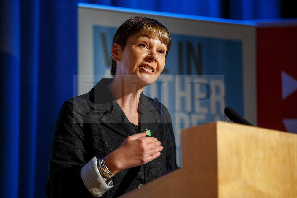 "© Licensed to London News Pictures. 28/05/2016. London, UK. Green Party MP CAROLINE LUCAS speaking at ""Another Europe is Possible"" rally at UCL Institute of Education in London, campaigning for a remain vote at the upcoming EU referendum. Speakers at the event include Shadow Chancellor John McDonnell and former Greek Finance Minister Yanis Varoufakis. Photo credit: Tolga Akmen/LNP"