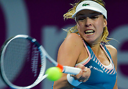 DOHA, Feb. 14, 2019  Anett Kontaveit hits a return during the singles second round match between Anett Kontaveit of Estonia and Angelique Kerber of Germany at the 2019 WTA Qatar Open in Doha, Qatar, on Feb. 13, 2019. Angelique Kerber won 2-0. (Credit Image: © Xinhua via ZUMA Wire)