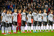 German team Germany (10) Özil, Germany (11) Werner, Germany (16) Rüdiger, Germany (18) Kimmich, Germany (21) Gündogan, Germany (22) GK Ter Stegen, Germany (23) Rudy, Germany (24) Sané, Germany (25) Halstenber  during the Friendly match between England and Germany at Wembley Stadium, London, England on 10 November 2017. Photo by Sebastian Frej.