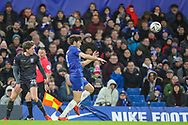 Sheffield Wednesday midfielder Adam Reach (20) and Chelsea defender Marcos Alonso (3) during the The FA Cup fourth round match between Chelsea and Sheffield Wednesday at Stamford Bridge, London, England on 27 January 2019.