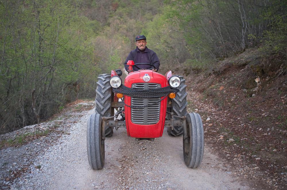 Zhare on his tractor near Konjsko, FYR Macedonia