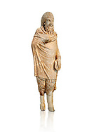 Marble statue of Pan found in Sparta, Pelopenese, 1st Cent AD copy of 4th Cent BC Greek original. Athens Archaeological Museum Cat No 252. Against white, <br /> <br /> Pan, the goat footed god wears an animal pelt from which protrude only his jhairy legs. In his left hand he is holding pan pipes. The expression on his bestial featured face is softened by a broad smile. .<br /> <br /> If you prefer to buy from our ALAMY STOCK LIBRARY page at https://www.alamy.com/portfolio/paul-williams-funkystock/greco-roman-sculptures.html . Type -    Athens    - into LOWER SEARCH WITHIN GALLERY box - Refine search by adding a subject, place, background colour, etc.<br /> <br /> Visit our ROMAN WORLD PHOTO COLLECTIONS for more photos to download or buy as wall art prints https://funkystock.photoshelter.com/gallery-collection/The-Romans-Art-Artefacts-Antiquities-Historic-Sites-Pictures-Images/C0000r2uLJJo9_s0