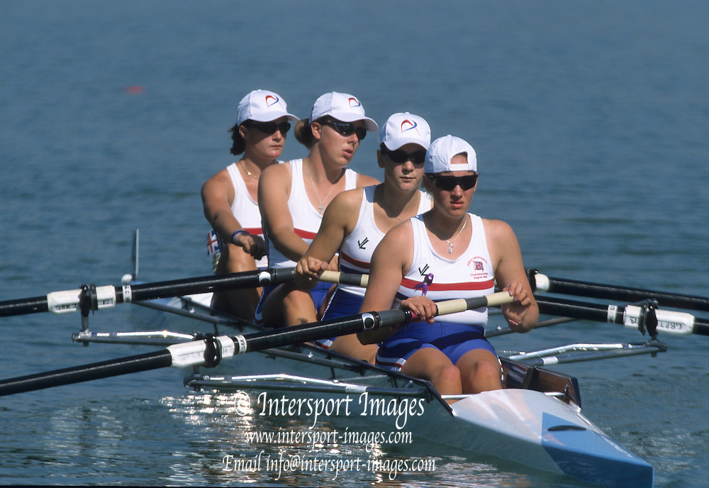 Zagreb, CROATIA.  GBR JW4- Bow, GREVES  .Katie,2. RODFORD Beth, 3. COGGER Harriet, stroke BRAY Alice. 2000 FISA World Rowing Junior & Non-Olympic Seniors Championships   [Mandatory Credit Peter Spurrier/Intersport Images]