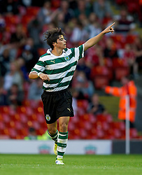 LIVERPOOL, ENGLAND - Wednesday, August 17, 2011: Sporting Clube de Portugal's Joao Teixeira celebrates scoring the first goal against Liverpool during the first NextGen Series Group 2 match at Anfield. (Pic by David Rawcliffe/Propaganda)