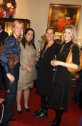 Left to right,  ELAINE PINKSTER, LAURA MORALES, CHARLOTTE STAFFELDT and MELANIE McMASTER at a drinks party for the Game Conservancy Trust's committee held at Williams & Son, 10 Mount Street, London WlK hosted by Willaim & Lucy Asprey on 6th December 2005.<br /><br />NON EXCLUSIVE - WORLD RIGHTS