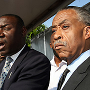 Martin family attorney Benjamin Crump (left) and Reverend Al Sharpton arrive and speak to show their support during a rally for the shooting of Trayvon Martin on Thursday,March 22, 2012 at Fort Mellon Park in Sanford, Florida. (AP Photo/Alex Menendez) Trayvon Martin rally in Sanford, Florida.