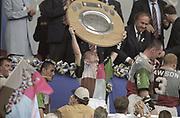 Reading, England, Paul BURKE, lift the trophy, , European Shield Final, at the Madejski Stadium, NEC Harlequins v RC Narbonne.<br /> [Mandatory Credit, Peter Spurrier/ Intersport Images].