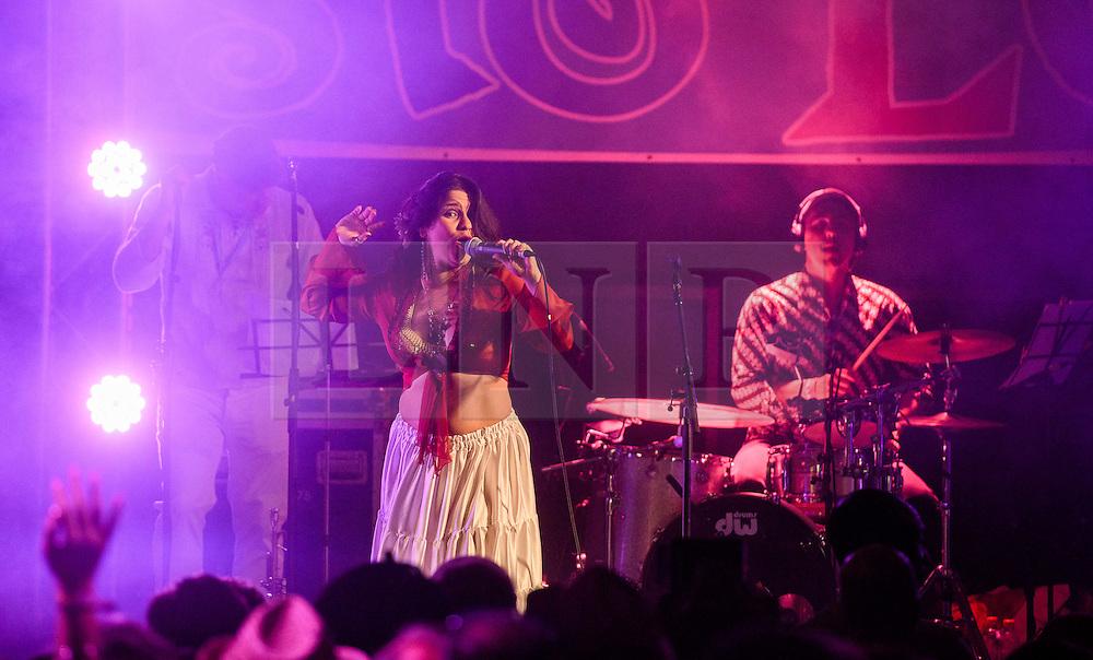 ©London News Pictures. Glastonbury Festival 2015<br /> <br /> Ají Pa' Ti band perform on Glasto Latino stage on Thursday, Worthy Farm in Pilton.<br /> <br /> Date: 25/06/2015<br /> Photographer: Artur Lesniak /LNP