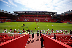 LIVERPOOL, ENGLAND - Monday, May 21, 2018: Liverpool's players during a training session at Anfield ahead of the UEFA Champions League Final match between Real Madrid CF and Liverpool FC. (Pic by Paul Greenwood/Propaganda)