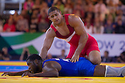 Mcc0055084 . Daily Telegraph<br /> <br /> England's Leon Rattigan  vs Namibia's Angula Shokongo  in the Men's Freestyle 97kg Wrestling on Day 7 of the 2014 Commonwealth Games in Glasgow today .<br /> <br /> 30 July 2014