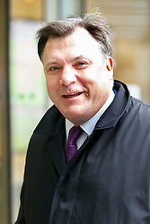 © Licensed to London News Pictures. 15/03/2015. LONDON, UK. Labour's Shadow Chancellor of the Exchequer, Ed Balls arrives BBC Broadcasting House in London to take part on the The Andrew Marr show on Sunday, 15 March 2015. Photo credit : Tolga Akmen/LNP