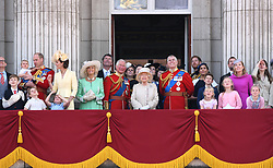 Queen Elizabeth II is joined by members of the royal family, including the Duke and Duchess of Cambridge with their children, Prince Louis, Prince George, Princess Charlotte, Duchess of Cornwall, Prince of Wales, Princess Royal, Duke of York, Duke and Duchess of Sussex, Peter and Autumn Phillips and their children Savannah and Isla, attending Trooping The Colour, Buckingham Palace, London. Picture credit should read: Doug Peters/EMPICS