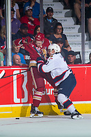 REGINA, SK - MAY 27: Libor Hajek #3 of Regina Pats checks German Rubtsov #98 of Acadie-Bathurst Titan into the boards at the Brandt Centre on May 27, 2018 in Regina, Canada. (Photo by Marissa Baecker/CHL Images)