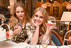 Left to right, Bea Fresson and Lady Kitty Spencer at an afternoon tea in honour of Megan Hess hosted by Lady Violet Manners at The Lanesborough, Hyde Park Corner, London, England. 10 November 2017.