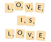 Digitally crated image of scrabble letters spelling LOVE IS LOVE on white background