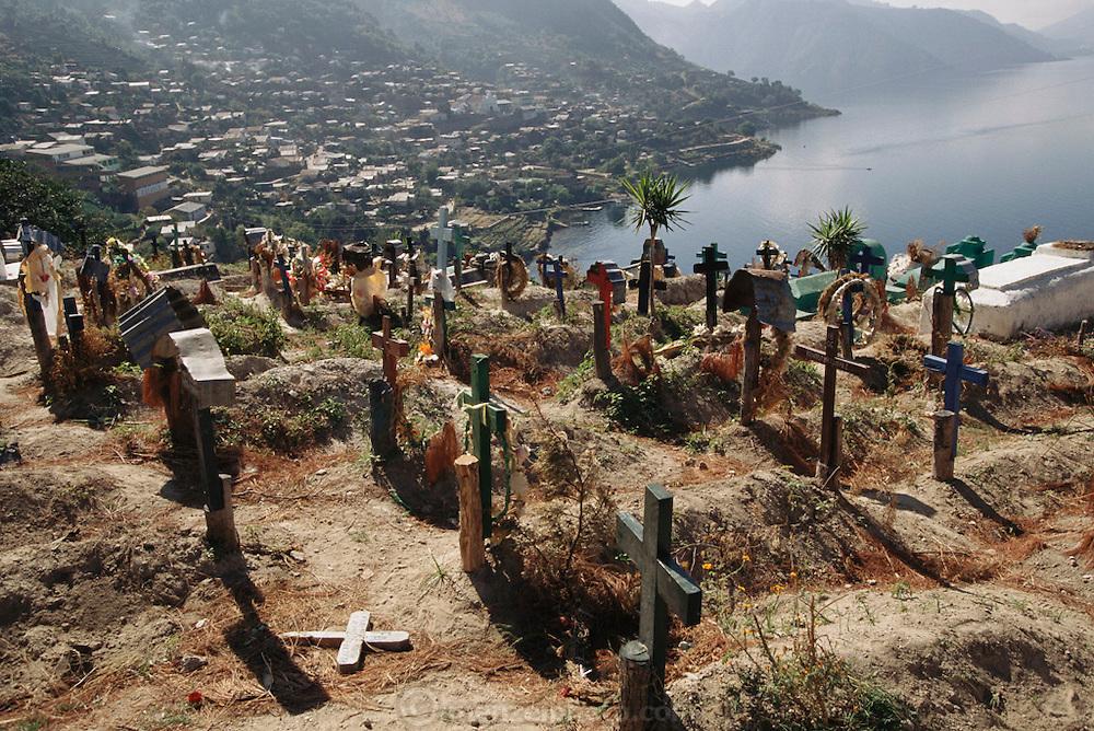 Cemetery above the village of San Antonio Palopo on Lake Aititlan, Guatemala.