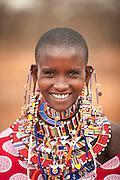 A young Maasai woman at a village near Amboseli National Park, Kenya