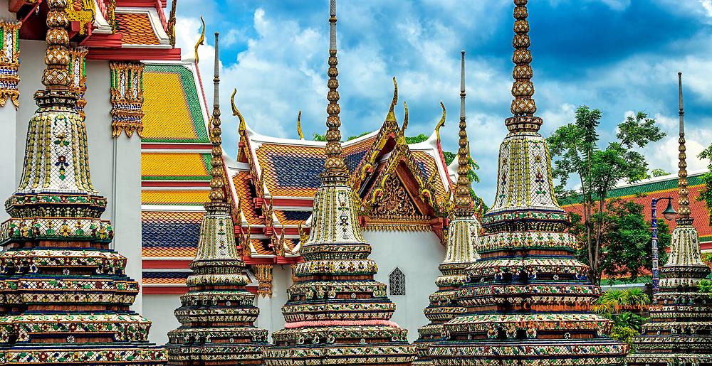Stunning Wat Pho: The stunning architectural sights are seemingly endless at Wat Pho, Bangkok Thailand.