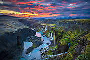 Canyon with multiple waterfalls in the Southern Region of Iceland