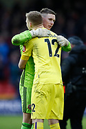 Dean Henderson of Sheffield Utd and Aaron Ramsdale of Bournemouth during the Premier League match at Bramall Lane, Sheffield. Picture date: 9th February 2020. Picture credit should read: Simon Bellis/Sportimage