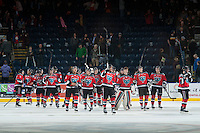 KELOWNA, CANADA - DECEMBER 6: The Kelowna Rockets celebrate the win against the Prince Albert Raiders on December 6, 2014 at Prospera Place in Kelowna, British Columbia, Canada.  (Photo by Marissa Baecker/Shoot the Breeze)  *** Local Caption *** Kelowna Rockets;