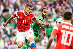June 14, 2018 - Moscow, Russia - 180614 Roman Zobnin of Russia and Abdullah Otayf of Saudi Arabia during the FIFA World Cup group stage match between Russia and Saudi Arabia on June 14, 2018 in Moscow..Photo: Petter Arvidson / BILDBYRN / kod PA / 92065 (Credit Image: © Petter Arvidson/Bildbyran via ZUMA Press)