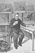 Louis Pasteur (1822-1895) French chemist, in his laboratory at the Ecole Normale, Paris, during his work on hydrophobia.  Around him are cages full of the animals he used during his experiments.  From 'Le Journal de la Jeunesse' Paris, 1893.