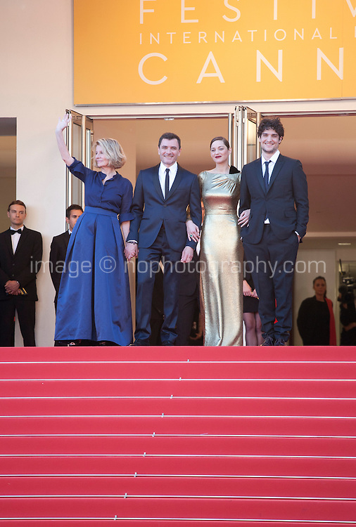 Director Nicole Garcia, actor Alex Brendemühl, actress Marion Cotillard, Actor Louis Garrel, at the gala screening for the film Mal De Pierres (From the Land of the Moon) at the 69th Cannes Film Festival, Sunday 15th May 2016, Cannes, France. Photography: Doreen Kennedy