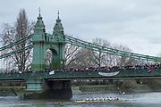 Hammersmith. London. United Kingdom,  Spectators on Hammersmith Bridge,  as Leander Club, pass under the bridge. 2018 Men's Head of the River Race.  Championship Course, Putney to Mortlake. River Thames, <br /> <br /> Sunday   11/03/2018<br /> <br /> [Mandatory Credit:Peter SPURRIER Intersport Images]<br /> <br /> Leica Camera AG  M9 Digital Camera  1/250 sec. 50 mm f. 160 ISO.  17.5MB
