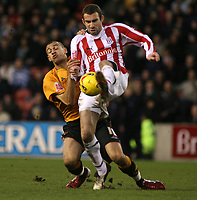Photo: Mark Stephenson.<br />Stoke City v Wolverhampton Wanderers. Coca Cola Championship. 13/01/2007.<br />Stoke's Danny Higgingbotham on the ball.