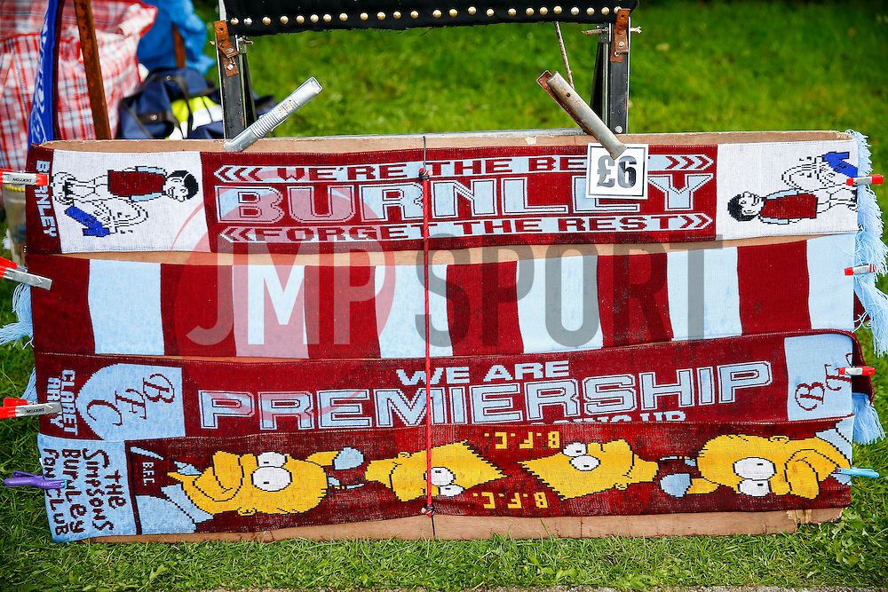 Scarves on sale outside the ground highlighting Burnley's return to the Premier League - Photo mandatory by-line: Rogan Thomson/JMP - 07966 386802 - 18/08/2014 - SPORT - FOOTBALL - Burnley, England - Turf Moor Stadium - Burnley v Chelsea - Barclays Premier League.