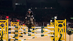 Great Britain's William Whitaker riding Fandango competes in the Christmas Stocking Six Bar during day four of the London International Horse Show at London Olympia. PRESS ASSOCIATION Photo. Picture date: Thursday December 20, 2018. See PA story EQUESTRIAN Olympia. Photo credit should read: Steve Parsons/PA Wire