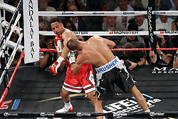 June 17, 2017 - Las Vegas, Nevada, United States of America - WBA, WBC and IBF  Light Heavyweight Boxing Champion Andre Ward punches challenger Sergey Kovalev during their rematch on June 17, 2017 at Mandalay Bay Events Center  in  Las Vegas, Nevada. (Credit Image: © Marcel Thomas via ZUMA Wire)