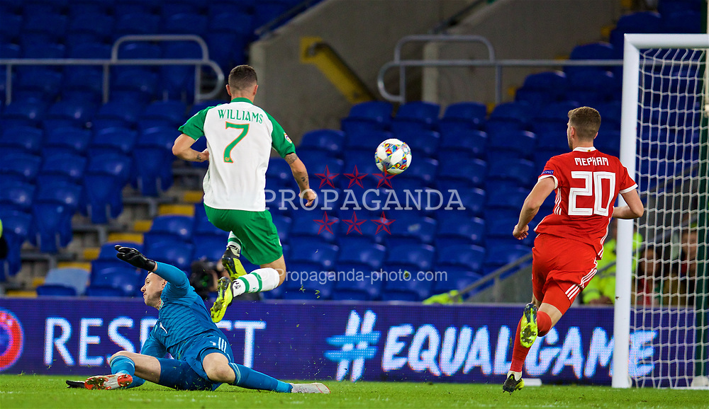 CARDIFF, WALES - Thursday, September 6, 2018: Wales' goalkeeper Wayne Hennessey is beaten as Republic of Ireland's Shaun Williams scores a consolation goal during the UEFA Nations League Group Stage League B Group 4 match between Wales and Republic of Ireland at the Cardiff City Stadium. Wales won 4-1. (Pic by David Rawcliffe/Propaganda)