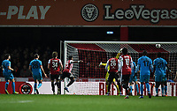 Football - 2018 / 2019 Emirates FA Cup - Fourth Round, Replay: Brentford vs. Barnet<br /> <br /> Brentford's Julian Jeanvier (23) scores his side's second goal, at Griffin Park.<br /> <br /> COLORSPORT/ASHLEY WESTERN