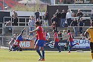 Dagenham's Ashley Hemmings (l) celebrates  after scoring his sides first goal with a summersault. Skybet football league two match , Newport county v Dagenham & Redbridge at Rodney Parade in Newport, South Wales on Saturday 18th April 2015.<br /> pic by David Richards, Andrew Orchard sports photography.