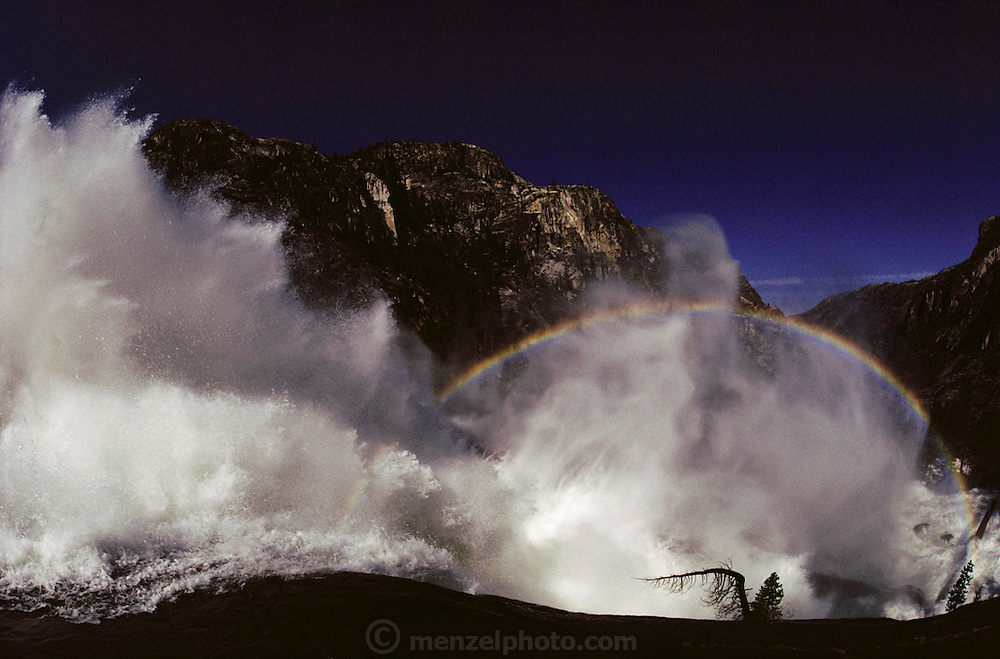Rainbow at Waterwheel Falls on the Tuolumne River in Yosemite National Park, California.