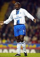 Photograph: Scott Heavey.<br />Aston Villa v Chelsea. Carling cup Quater Final. 17/12/2003.<br />Jimmy Floyd Hassselbaink pleads his innocence