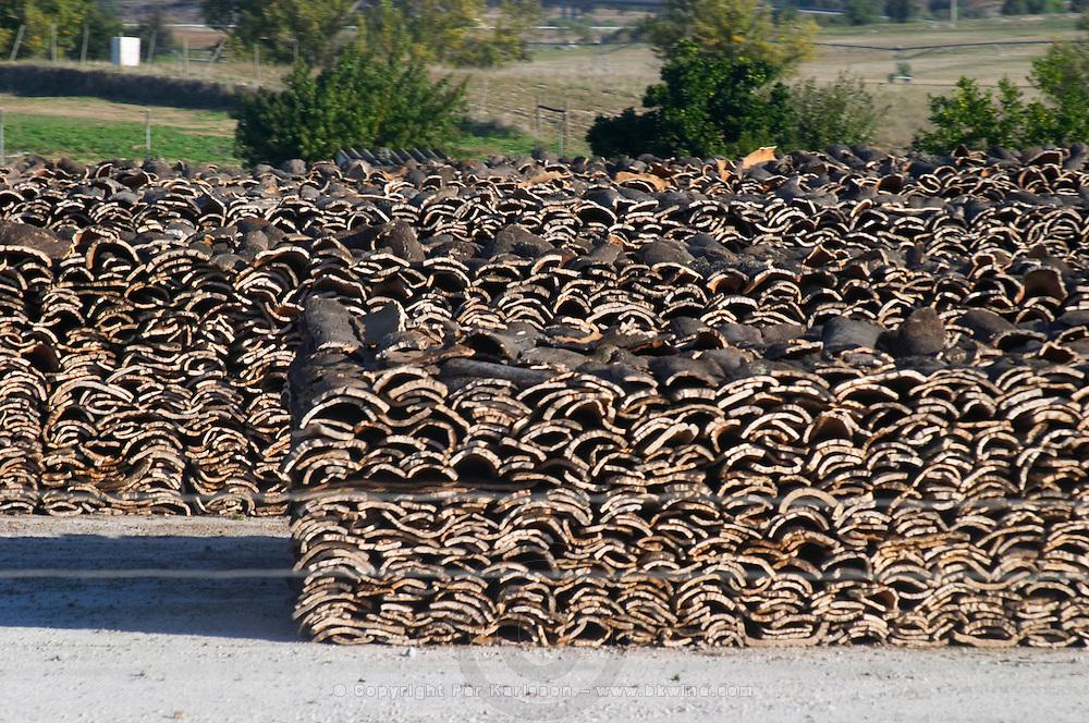 cork oak bark storage alentejo portugal