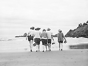 9969-7049. Five girls without their shoes at Crescent Beach. July 27, 1947.