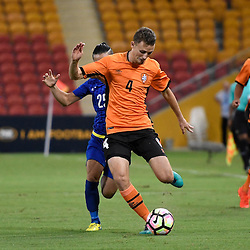 BRISBANE, AUSTRALIA - JANUARY 31: Daniel Bowles of the Roar passes the ball during the second qualifying round of the Asian Champions League match between the Brisbane Roar and Global FC at Suncorp Stadium on January 31, 2017 in Brisbane, Australia. (Photo by Patrick Kearney/Brisbane Roar)