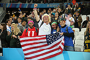 USA fans celebrating in spite of defeat during the Rugby World Cup Pool B match between South Africa and USA at the Queen Elizabeth II Olympic Park, London, United Kingdom on 7 October 2015. Photo by Matthew Redman.