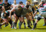 Sale Sharks Ross Harrison and Sale Sharks Cameron Neild shield the ball during a Gallagher Premiership Round 7 Rugby Union match, Friday, Jan. 29, 2021, in Leicester, United Kingdom. (Steve Flynn/Image of Sport)