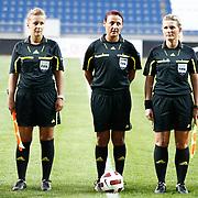 Referee's Tanja SCHETT (C) during their UEFA 2013 Woman's Euro Qualifying Group Stage Group 2 soccer match Turkey betwen Spain at Kasimpasa Recep Tayyip Erdogan stadium in Istanbul September 17, 2011. Photo by TURKPIX
