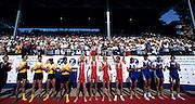 St Catharines, Ontario, CANADA 1999 World Rowing Championships. LW4-  Centre DEN LM4- Bow Eskild EBBESEN, Thomas EBERT, Victor FEDDERSEN, Thomas POULSEN.<br /> left AUSLM4- Bow,Darren BALMFORTH, Simon BURGESS, Anthony EDWARDS, Bob RICHARDS<br /> right FRA LM4- Bow,Jean-David BERNARD, Xavier DORFMAN, Yves HOCDE, Laurent PORCHIER. [Mandatory Credit Peter Spurrier Intersport Images] 1999 FISA. World Rowing Championships, St Catherines, CANADA