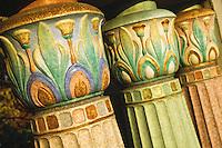 Colourful glazed terra cotta balustrades, Albert Street Bridge, Regina Saskatchewan