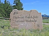 Sign at the entrance to Florissant Fossil Beds National Monument, Colorado.
