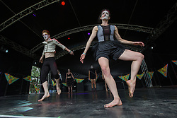 The Beyond Repair dance group performing on the Summer House stage on Day 1 of the 2017 Glastonbury Festival at Worthy Farm in Somerset. Photo date: Friday, June 23, 2017. Photo credit should read: Richard Gray/EMPICS Entertainment